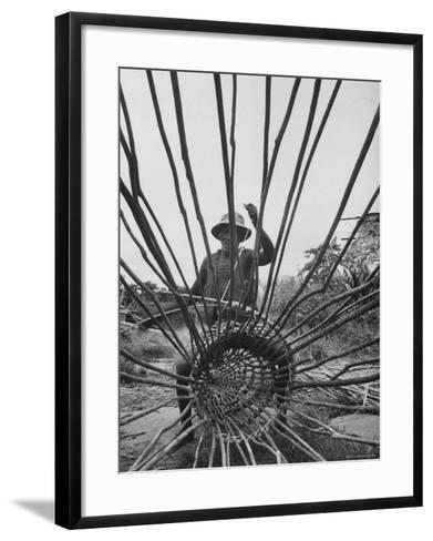 Man Making a New Trap For Fishing-Dmitri Kessel-Framed Art Print