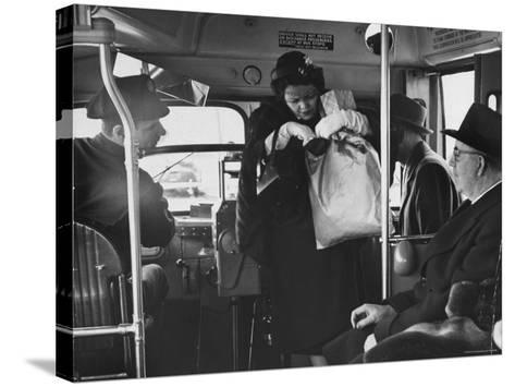 Lady Searching For 2 Cents For Her Bus Fair-Nina Leen-Stretched Canvas Print