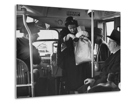 Lady Searching For 2 Cents For Her Bus Fair-Nina Leen-Metal Print