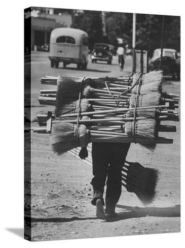 Broom Peddler Going Door to Door-Cornell Capa-Stretched Canvas Print