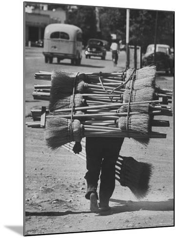 Broom Peddler Going Door to Door-Cornell Capa-Mounted Photographic Print