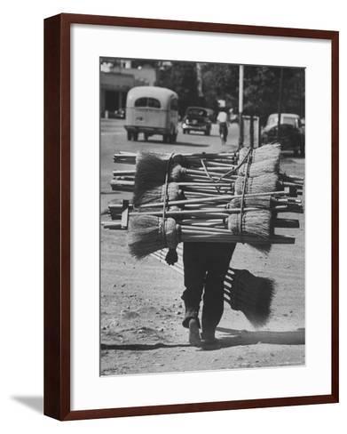 Broom Peddler Going Door to Door-Cornell Capa-Framed Art Print