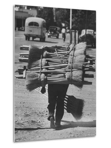 Broom Peddler Going Door to Door-Cornell Capa-Metal Print