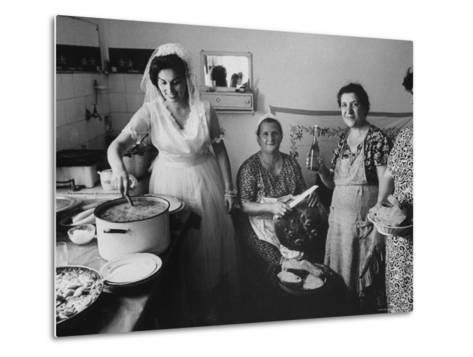 Bride Assisting in Kitchen During Wedding-Paul Schutzer-Metal Print