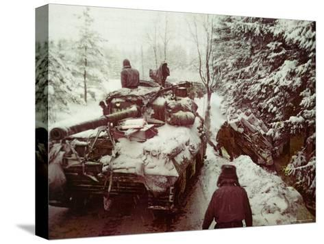 American Sherman M4 Tank at the Battle of the Bulge, the Last Major German Offensive of WWII-George Silk-Stretched Canvas Print