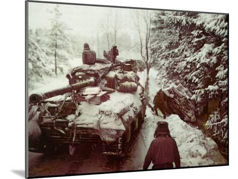 American Sherman M4 Tank at the Battle of the Bulge, the Last Major German Offensive of WWII-George Silk-Mounted Photographic Print