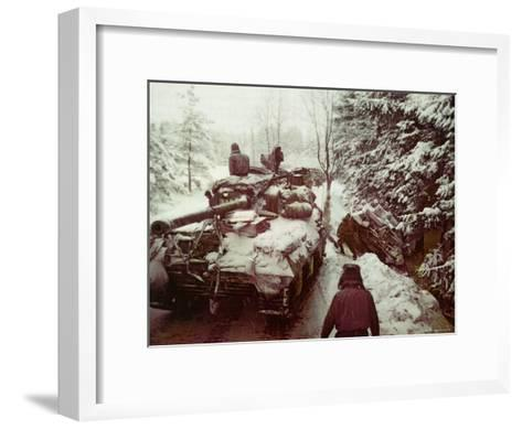 American Sherman M4 Tank at the Battle of the Bulge, the Last Major German Offensive of WWII-George Silk-Framed Art Print