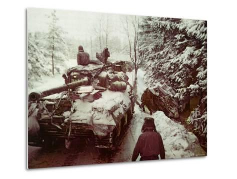 American Sherman M4 Tank at the Battle of the Bulge, the Last Major German Offensive of WWII-George Silk-Metal Print