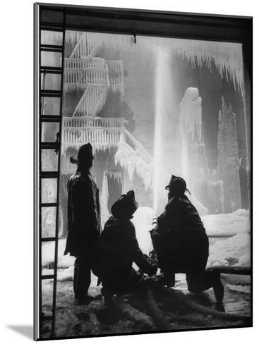 Firemen Fighting a Fire During Icy Weather-Al Fenn-Mounted Photographic Print