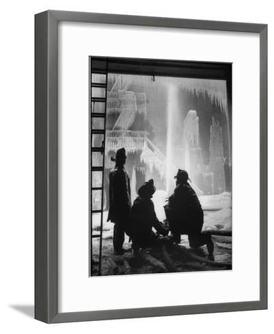 Firemen Fighting a Fire During Icy Weather-Al Fenn-Framed Art Print