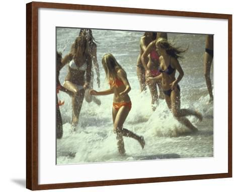 Bikini Clad Teens Frolicking in Surf at Beach-Co Rentmeester-Framed Art Print