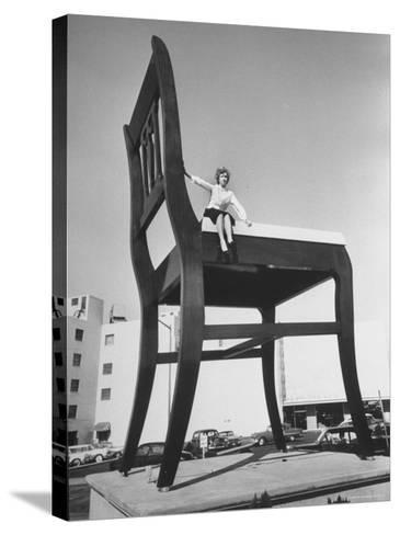 19 Ft. Chair Being Used as an Advertising Stunt-Ed Clark-Stretched Canvas Print
