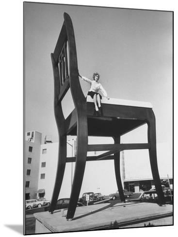 19 Ft. Chair Being Used as an Advertising Stunt-Ed Clark-Mounted Photographic Print