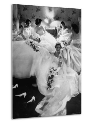 Queens and Their Attendants Resting Between Dances During the Chattanooga Cotton Ball-Grey Villet-Metal Print