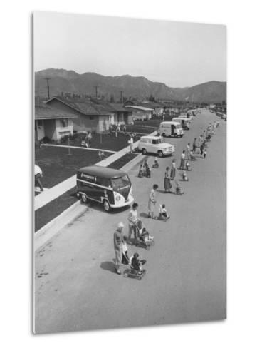 Diaper Service Trucks and Mothers with Babies They Service Line Street-Ralph Crane-Metal Print