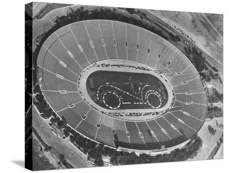 Aerial View of the Rose Bowl Half Time Show-Allan Grant-Stretched Canvas Print