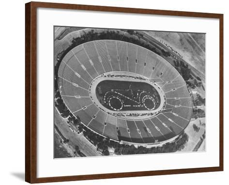 Aerial View of the Rose Bowl Half Time Show-Allan Grant-Framed Art Print