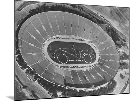 Aerial View of the Rose Bowl Half Time Show-Allan Grant-Mounted Photographic Print
