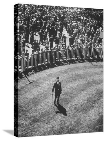 Man Standing in the Center of the Royal Enclosure at Ascot Race Track-Mark Kauffman-Stretched Canvas Print