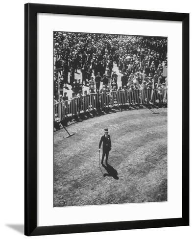 Man Standing in the Center of the Royal Enclosure at Ascot Race Track-Mark Kauffman-Framed Art Print