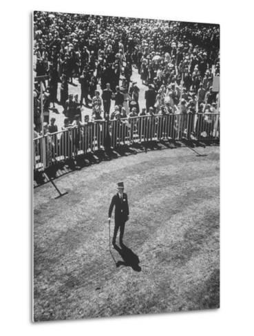 Man Standing in the Center of the Royal Enclosure at Ascot Race Track-Mark Kauffman-Metal Print