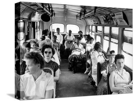 African American Citizens Sitting in the Rear of the Bus in Compliance with Florida Segregation Law-Stan Wayman-Stretched Canvas Print