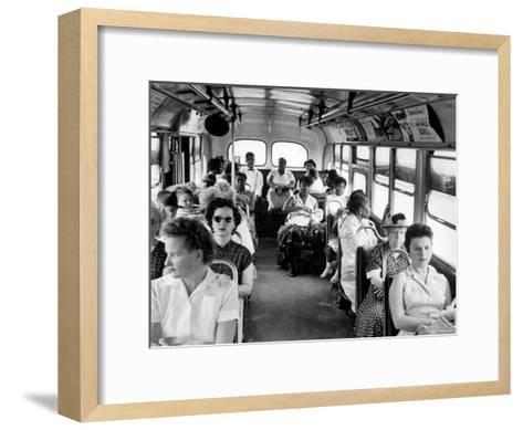 African American Citizens Sitting in the Rear of the Bus in Compliance with Florida Segregation Law-Stan Wayman-Framed Art Print