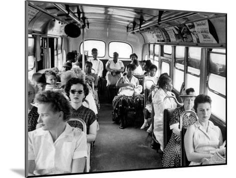 African American Citizens Sitting in the Rear of the Bus in Compliance with Florida Segregation Law-Stan Wayman-Mounted Photographic Print