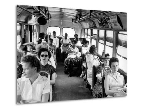 African American Citizens Sitting in the Rear of the Bus in Compliance with Florida Segregation Law-Stan Wayman-Metal Print