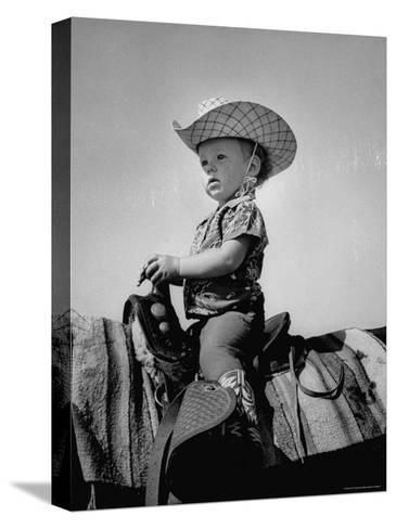 Jean Anne Evans, 14 Month Old Texas Girl Riding Horseback-Allan Grant-Stretched Canvas Print