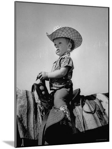Jean Anne Evans, 14 Month Old Texas Girl Riding Horseback-Allan Grant-Mounted Photographic Print