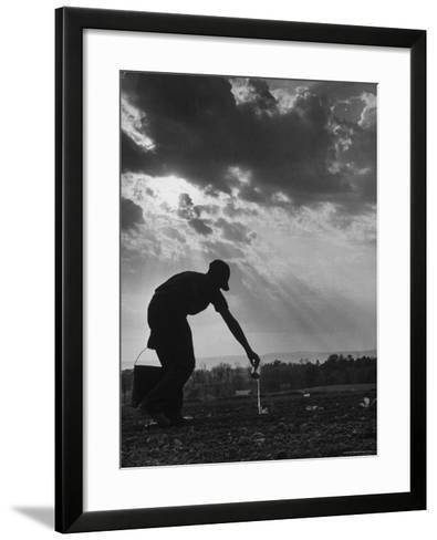Farmer Watering the Crops-Ed Clark-Framed Art Print