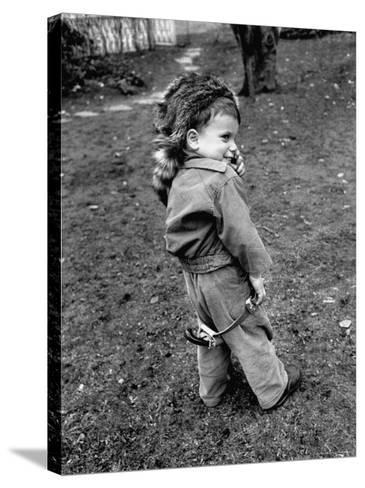 Boy Wearing a Davey Crockett Hat-Ralph Morse-Stretched Canvas Print