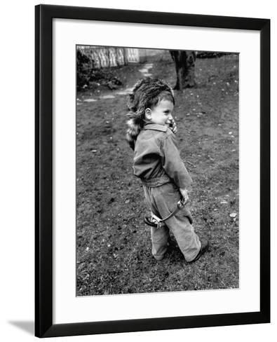 Boy Wearing a Davey Crockett Hat-Ralph Morse-Framed Art Print