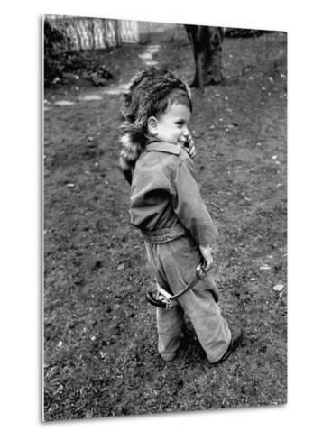 Boy Wearing a Davey Crockett Hat-Ralph Morse-Metal Print