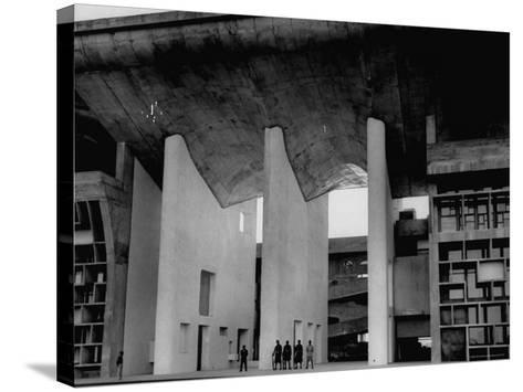 Entrance to Punjab High Court Building, Designed by Le Corbusier, in the New Capital City of Punjab-James Burke-Stretched Canvas Print