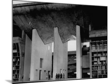 Entrance to Punjab High Court Building, Designed by Le Corbusier, in the New Capital City of Punjab-James Burke-Mounted Photographic Print