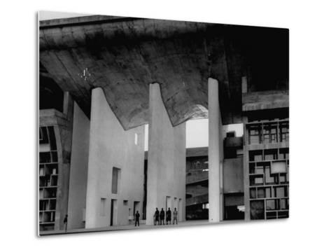 Entrance to Punjab High Court Building, Designed by Le Corbusier, in the New Capital City of Punjab-James Burke-Metal Print