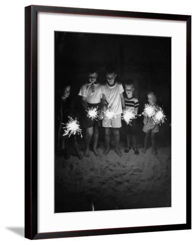Children Holding Sparklers on a Beach-Lisa Larsen-Framed Art Print