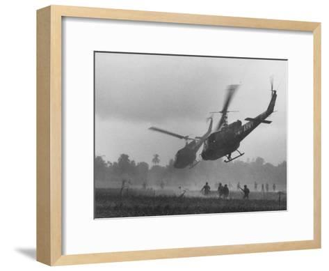 US Helicopters Carrying South Vietnamese Troops in Raid on Viet Cong Positions-Larry Burrows-Framed Art Print