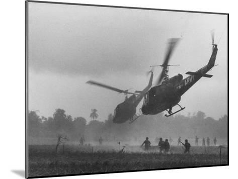 US Helicopters Carrying South Vietnamese Troops in Raid on Viet Cong Positions-Larry Burrows-Mounted Photographic Print