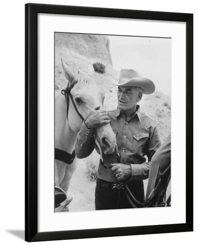 Senator Barry M. Goldwater, Riding His Horse is One of His Hobbies-Leonard Mccombe-Framed Art Print