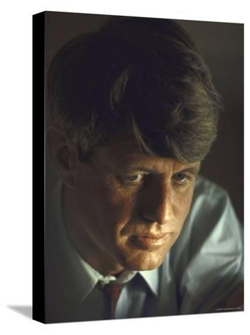 Pensive Portrait of Presidential Contender Bobby Kennedy During Campaign-Bill Eppridge-Stretched Canvas Print