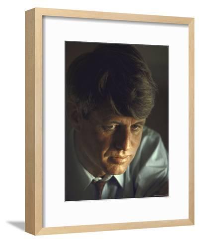 Pensive Portrait of Presidential Contender Bobby Kennedy During Campaign-Bill Eppridge-Framed Art Print