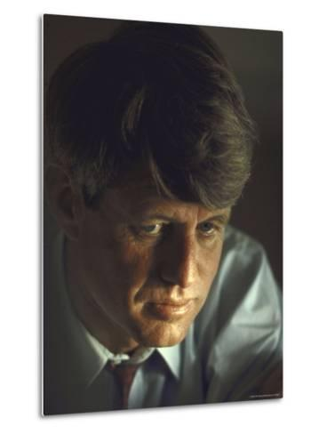 Pensive Portrait of Presidential Contender Bobby Kennedy During Campaign-Bill Eppridge-Metal Print