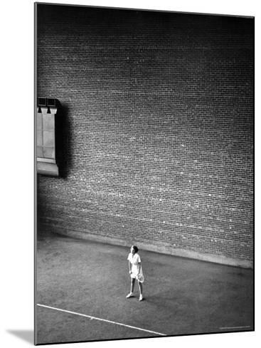 Vassar Student Waiting to Receive a Serve While Playing Indoor Tennis on Campus at Vassar College-Alfred Eisenstaedt-Mounted Photographic Print