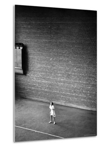 Vassar Student Waiting to Receive a Serve While Playing Indoor Tennis on Campus at Vassar College-Alfred Eisenstaedt-Metal Print