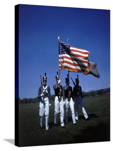 West Point Cadets Carrying US Flag-Dmitri Kessel-Stretched Canvas Print