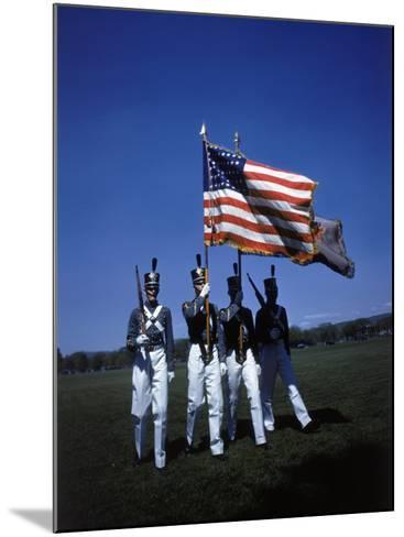 West Point Cadets Carrying US Flag-Dmitri Kessel-Mounted Photographic Print
