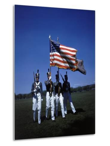 West Point Cadets Carrying US Flag-Dmitri Kessel-Metal Print